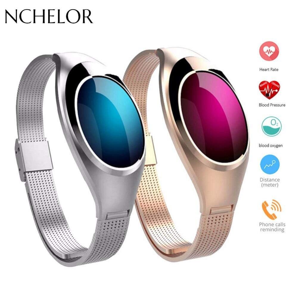 Di Modo delle signore Intelligente Wristband Inseguitore di Fitness Self-Timer Donne Della Vigilanza di Frequenza Cardiaca Monitor di Pressione Sanguigna di OELD Schermo Smartwatch