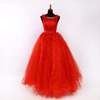 Luxury Scoop Ball gown Red Quinceanera Dresses Lace Up Tulle Appliques Lace Beaded Vestidos De 15 Anos Cheap Quinceanera Gown