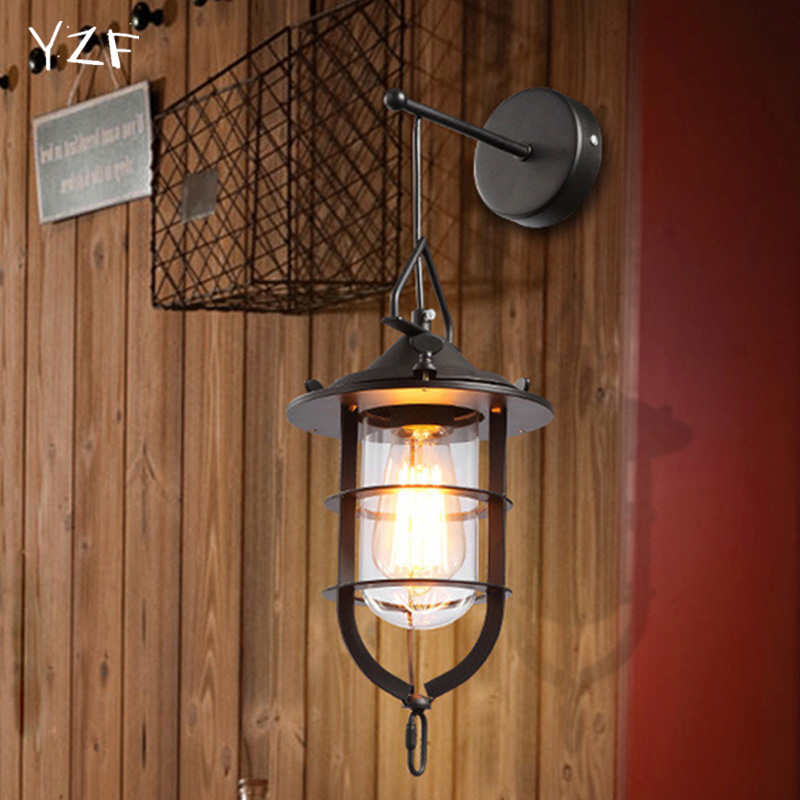 E27 Personality Design Vintage Iron industrial wind Wall Light Creative Glass Lampholder Wall Lamp for Restaurant Coffee Shop