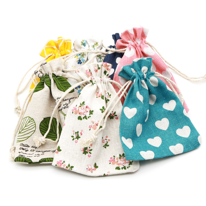 50pcs/lot Multi Designs Cotton Bags 10x14cm Party Favors Linen Drawstring Gift Bag Muslin Pouch Boutique Gifts Packaging Bags