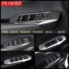 ABS/스테인레스 스틸 매트 탄소 섬유 스타일 자동차 창 리프트 프레임 커버 트림 맞는 렉서스 NX 200T NX300H 2015 2016 2017 2018