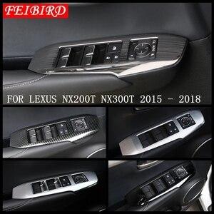 Abs/aço inoxidável fosco estilo de fibra carbono janela do carro elevador quadro capa guarnição apto para lexus nx 200 t nx300h 2015 2016 2017 2018