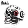 Beier nova loja anel aço inoxidável 316l top quality super legal do crânio do punk dos homens anel de moda jóias br8-232