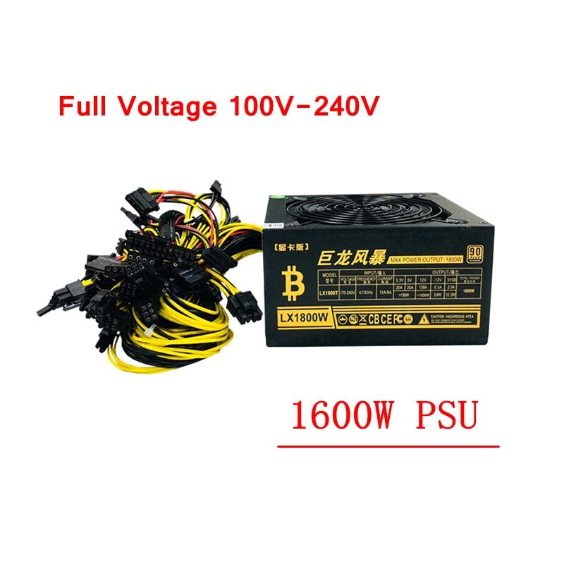 PC alimentation 1600 W ATX Miner Source Machine d'extraction PSU 6 carte graphique GPU ETH Miner 100-240 V pour RX470 480 570 GTX1060 1080