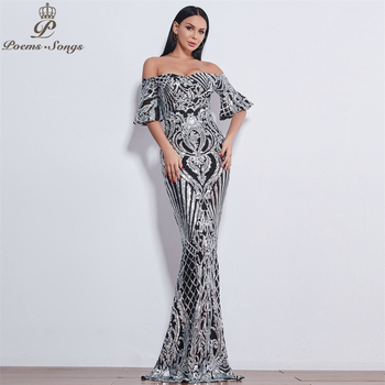 Poems Songs New Style elegant luxury Evening dresses long vestido de festa longo prom dress robe de soiree evening gowns 1