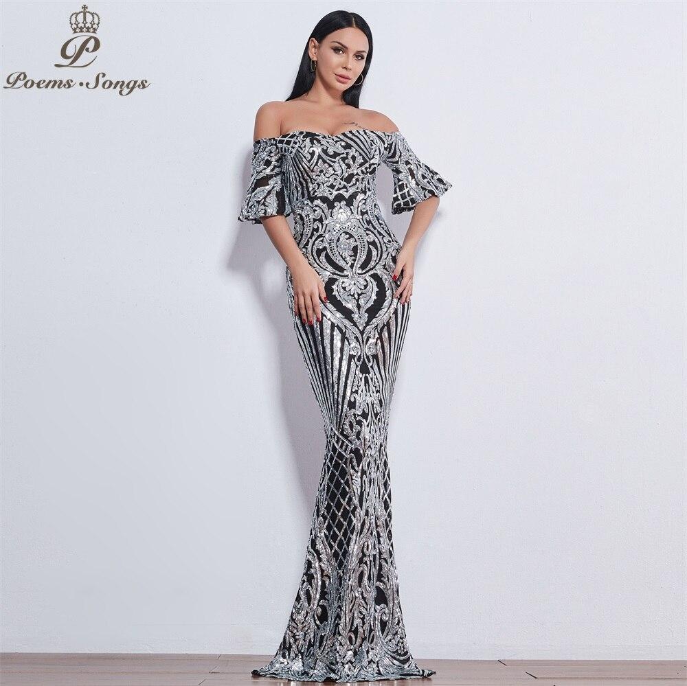 Poèmes chansons nouveau Style élégant luxe robes de soirée longue vestido de festa longo robe de bal robe de soirée robes de soirée