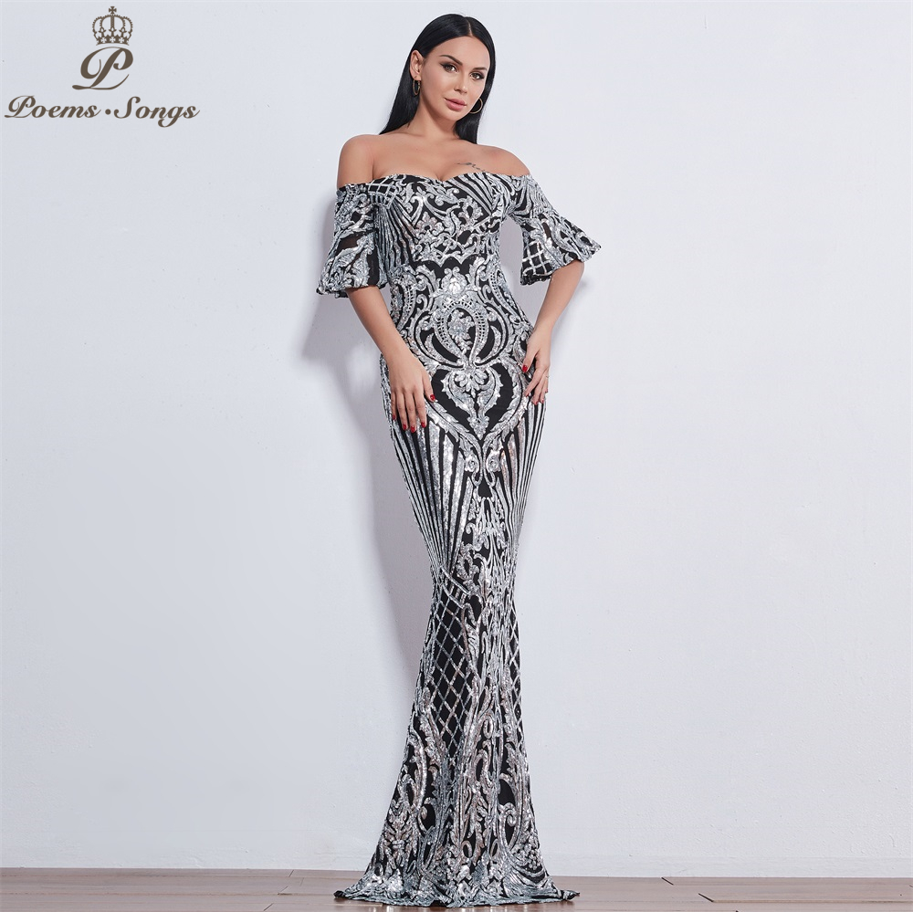 Poemas canções novo estilo elegante luxo vestidos de noite longo vestido de baile vestido de noite robe de soiree