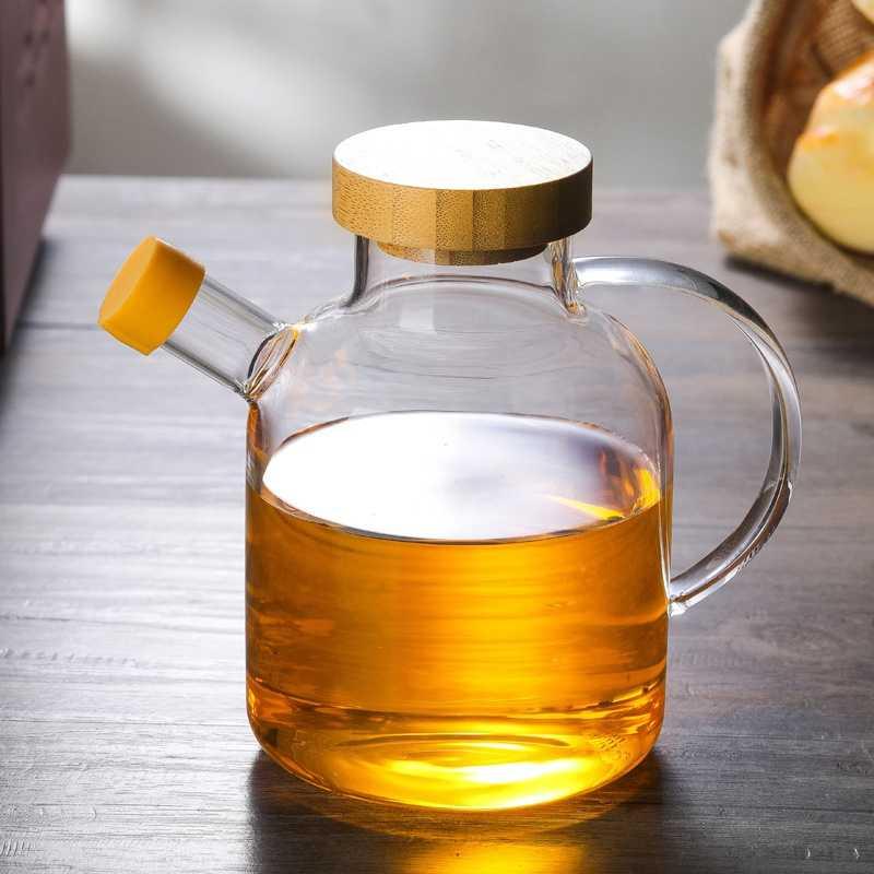 650 ミリリットルのオリーブオイルディスペンサーボトルホーン口オイルポット調味料オイルガラスボトル抗リークオイルボトル酢醤油瓶の