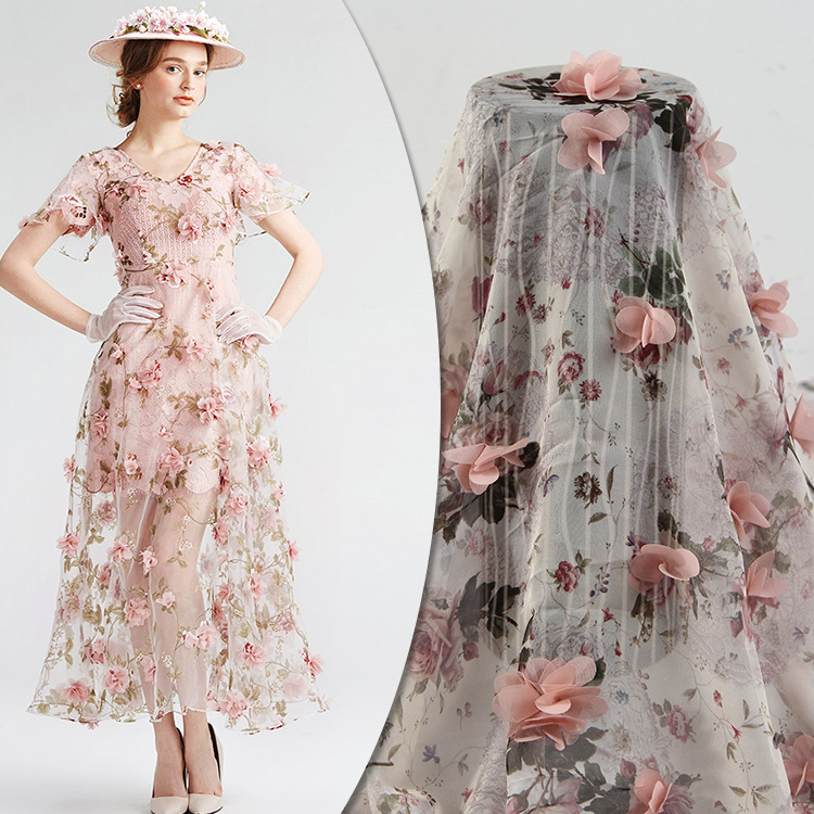 Chiffon Small Floral 3D Set Embroidery Cloth Women s Clothes Wear Pink Dress Wedding Print Fabric Customized