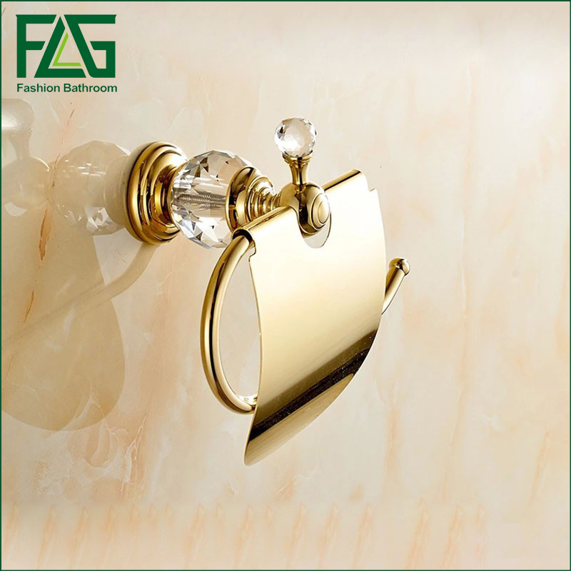Paper Holders Solid Brass Gold Paper Roll Holder Toilet Paper Holder Crystal Tissue Holder Restroom Bathroom Accessories in Paper Holders from Home Improvement