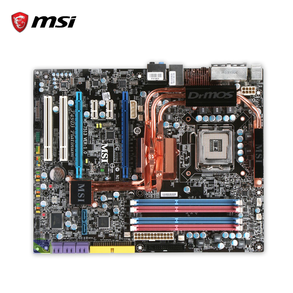 Original MSI P45D3 Platinum Desktop Motherboard P45 Socket LGA 775 DDR3 8G SATA2 USB2.0 ATX 100% Fully Test original msi g41m4 l desktop motherboard g41 socket lga 775 ddr2 8g sata2 usb2 0 micro atx 100% fully test