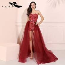 Red Detachable Skirt Prom Dresses 2019 A Line Short Evening Dress with Pants Vestido de fiesta Robes bal