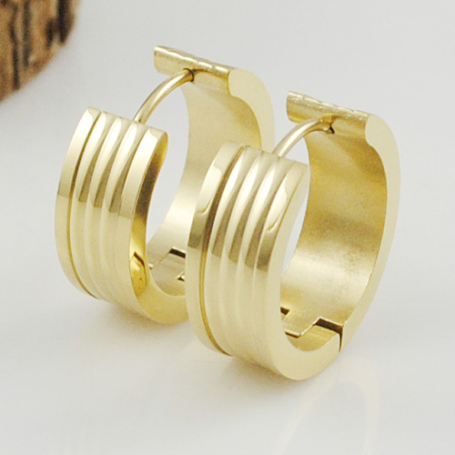 GOKADIMA Stainless Steel Hip Hop Women Gold Color Clip Ear Circle Men Earrings Polishing Jewelry