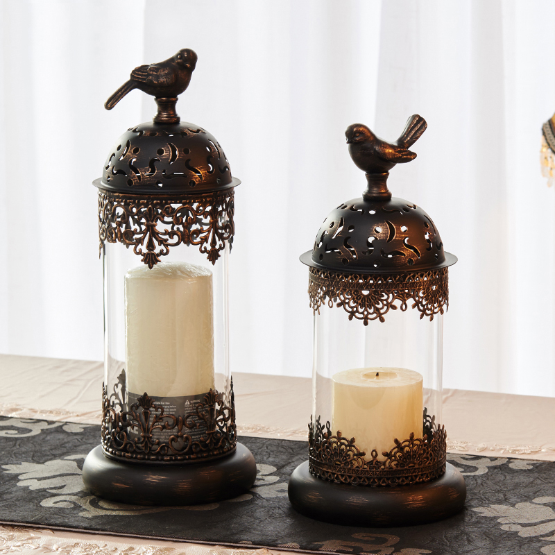 European style Birdcage Candlestick Candle Holders Cage Cylinder Romantic Candlelight Dinner Home Ornaments Decoration WITFAMILY