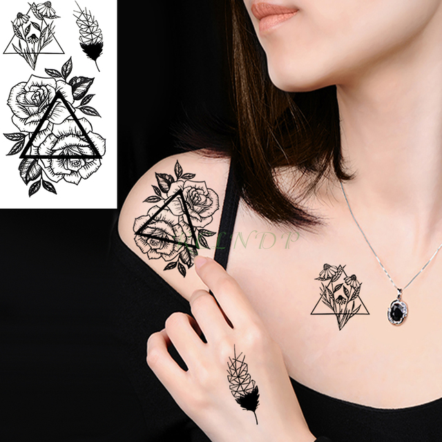 Waterproof Temporary Tattoo Sticker Feather Rose Triangle Fake Tatto