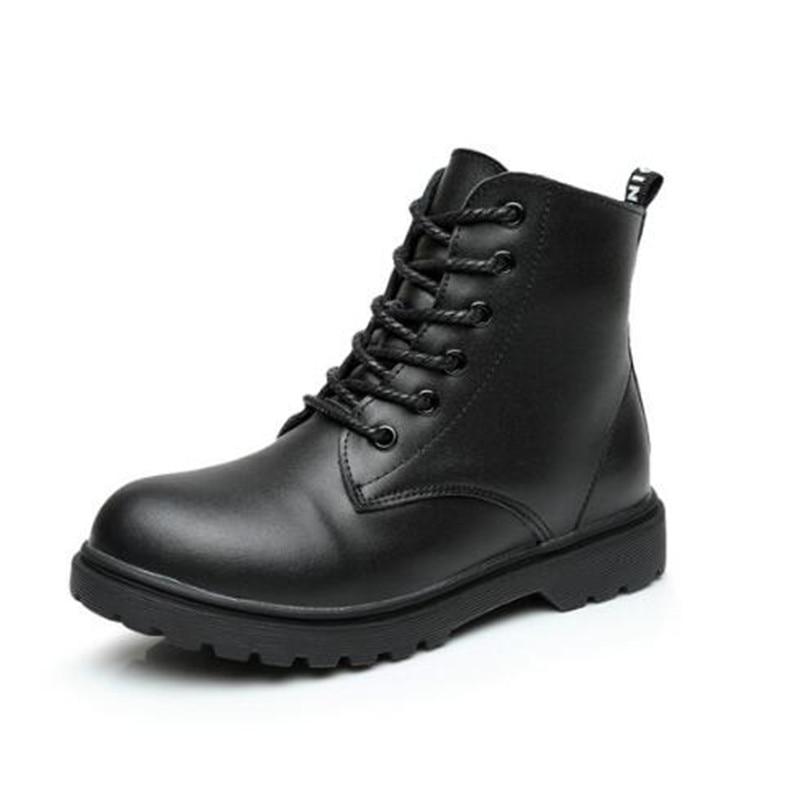 все цены на New Black Genuine Leather Boots Children High Top Autumn Winter Snow Boots Boys Girls Martin Boots Warm Plush Student Shoes 02A онлайн