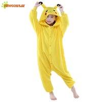 Newcosplay Kids Cartoon Pikachu Jumpsuit Anime Cosplay Kostuum Leuke Nachtkleding Rompertjes Pyjama Unisex Kinderen Cosplay Kleding