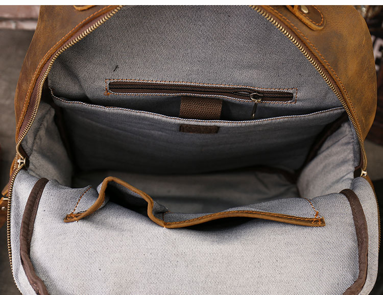 inside of the aya leather backpack