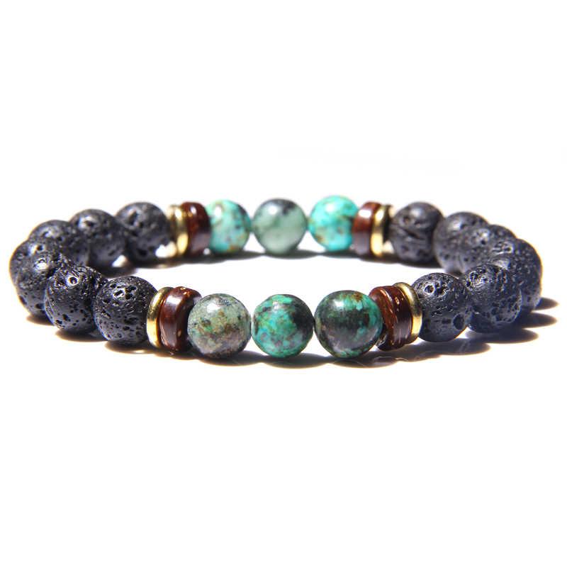 Мужской браслет, натуральный камень, бусины, браслет для мужчин, s, лава, камень, диффузор, браслет для женщин, дерево, бисер, аксессуары, ювелирное изделие, Homme