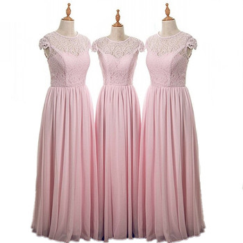 Real Images Scoop Cap Sleeves Floor Length Lace Chiffon Bridesmaid Dresses Cheap Court Train Chiffon Lace Bridesmaid Gowns