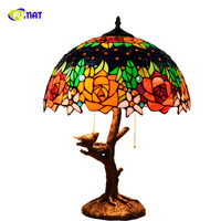 FUMAT American Pastoral Tiffany Stained Glass Table Lamps for Living Room Dining Hall Bedroom Decoration Glass Bird bar Lights