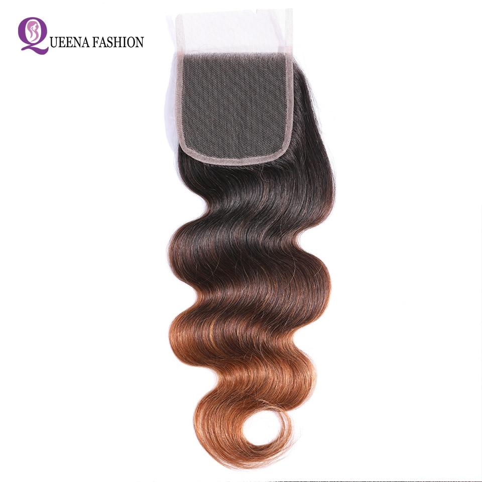 T1B/4/30 Color Ombre Closure Brazilian Body Wave Lace Closure Bleached Knots 4x4 Swiss Lace Closure Nonremy Human Hair Closure