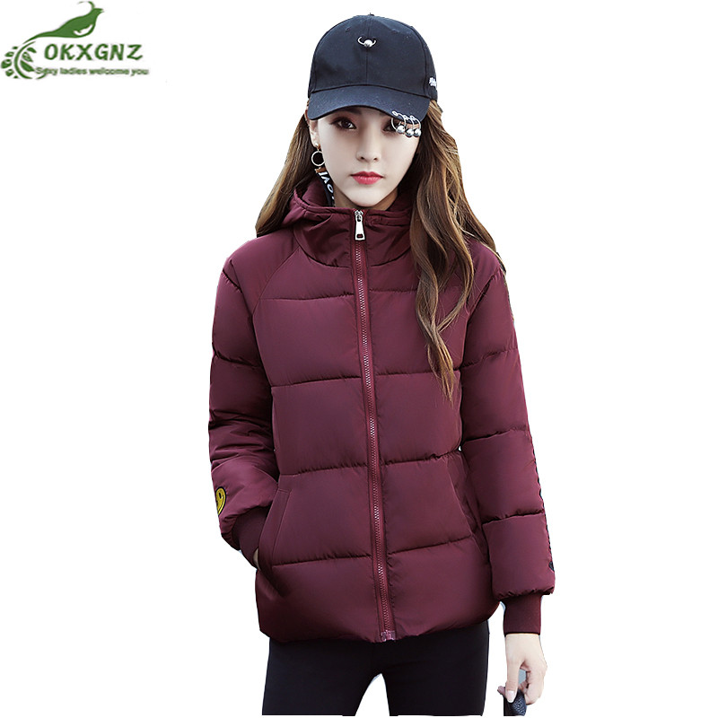 New winter women Down cotton clothing short paragraph hooded jacket coat women fashion smiling face warm Outerwear OKXGNZ AF153 2016 short paragraph winter down thick jacket fashion girls boys cotton hooded coat fashion hildren s jacket warm outwear 16a12