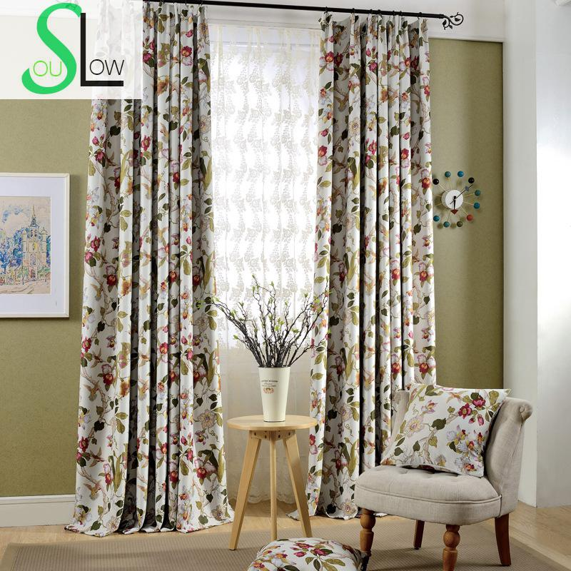 US $13.8 40% OFF|Luxury Floral Printed Curtains Europe Style Quality Window  Curtain Pastoral Cortinas Living Room Drapes Cortinas Rideaux CL 80-in ...