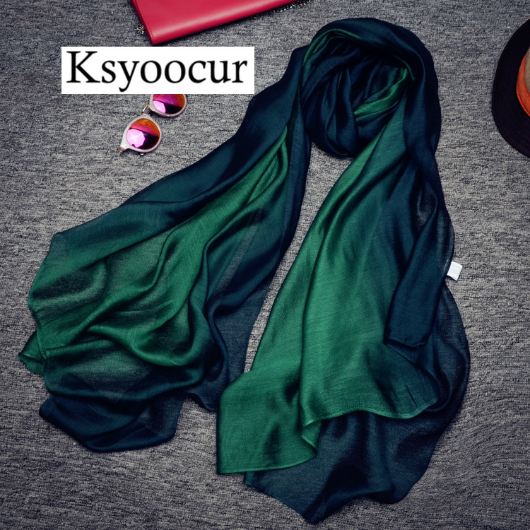 Size 190*100cm 2019 New Silk Scarves Beach Towel Scarf Female Four Seasons Shawls and Scarves Women Scarf BRAND Ksyoocur 9-126
