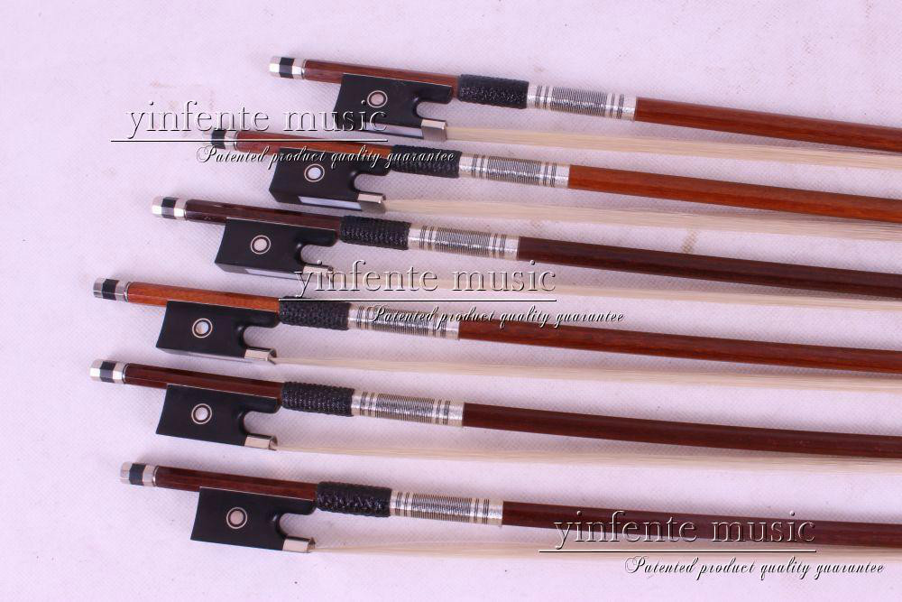 89# 5 pcs Brazil wood4/4 Round STICK Violin Bow Ebony Frog Parisian Eyes 1 pcs brazilwood violin bow 4 4 straight best model fr og round stick xd 033