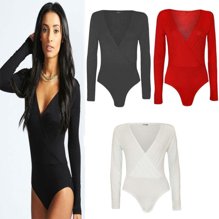 Ladies Womens Wrap Over V Neck Plunge Bodysuit Long Sleeve Leotard Plain Stretch