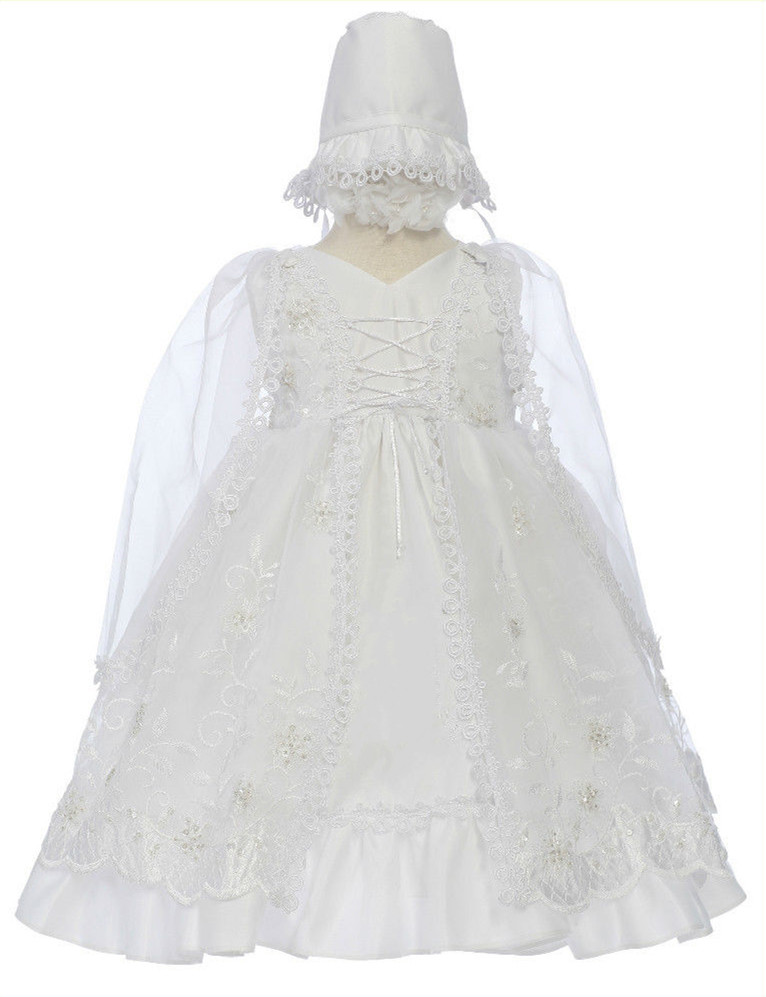 2016 Baby Girl Gorgeous Christening Gowns Baptism Lace Todder White/Ivory First Communion Dresses 0-24month WITH BONNET