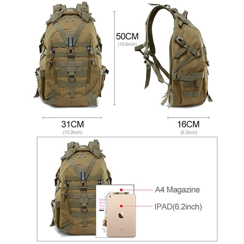 Large Camping Backpack Military Men Travel Bags Tactical Molle Climbing Rucksack Hiking Bag Outdoor Sac A Dos Militaire XA714WA