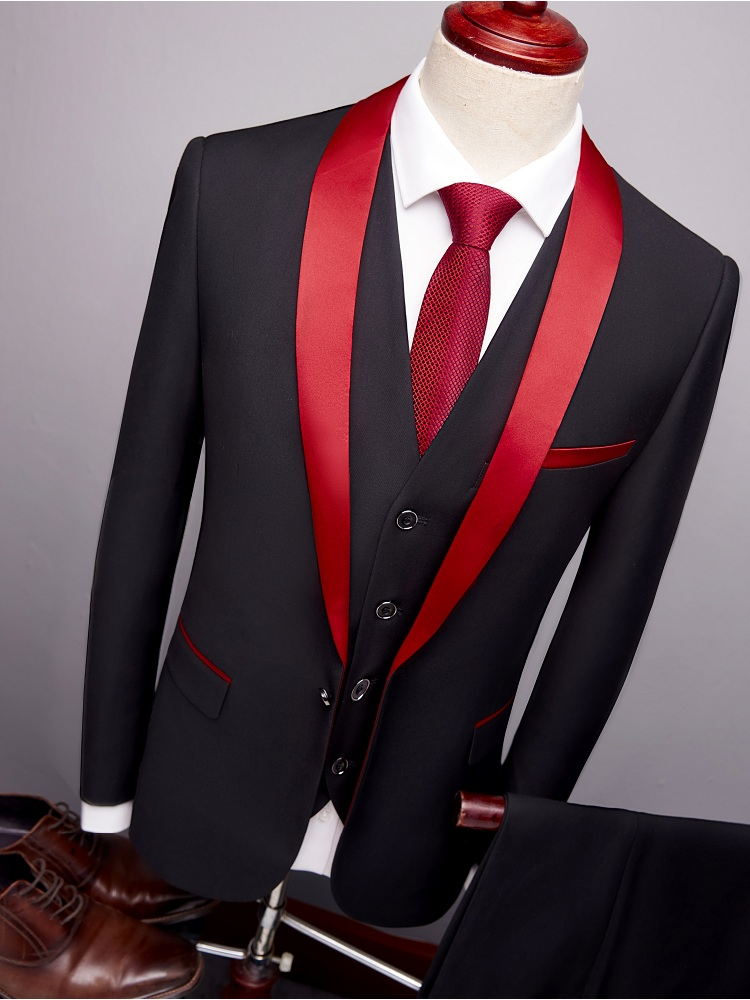 Designers 2019 Black Red Tuxedo Men S Suits Formal Grooms Wedding Prom Blazer Mens 3 Piece Korean Business Suit Slim Fit Buy At The Price Of 70 00 In Aliexpress Com Imall Com