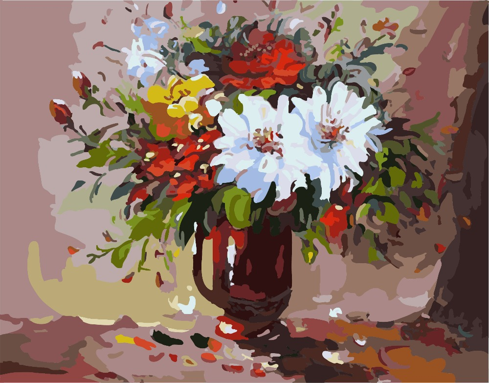 Flower 3 digital diy acrylic paint kit oil painting by for How to paint flowers with oil paint