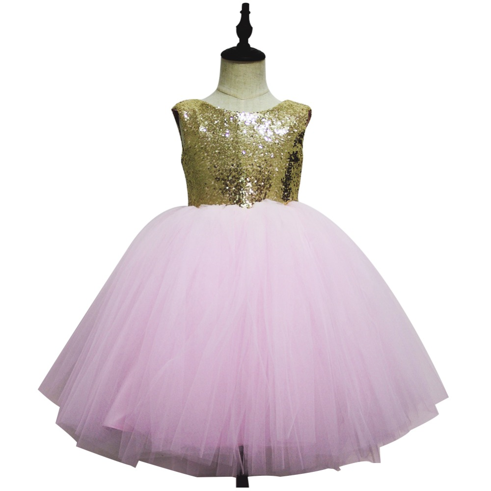 Pink Teen Wedding Dress Sequin Knee Length O neck Paillette Girls Sequin Dress for Girls Sequin Evening Dress Tutu with Bowknot