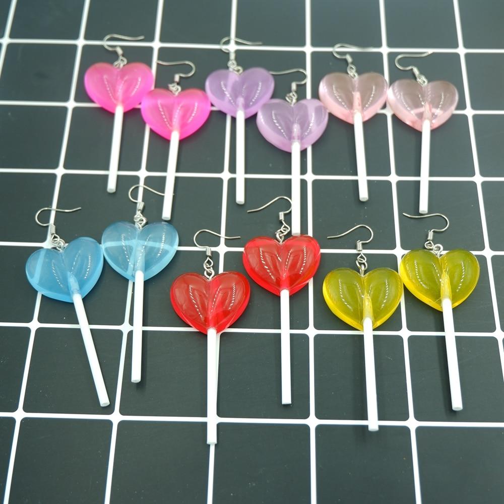 Cute Heart Lollipop Earrings Earring Candy Costume Trendy Style Woman Girl Jewelry Drop Shipping