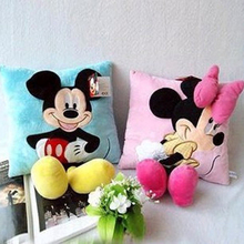 все цены на 35cm 3D Mickey Minnie Mouse Pillow Plush Cushion Gifts For Children Home Decorations Plush Toys Kids онлайн