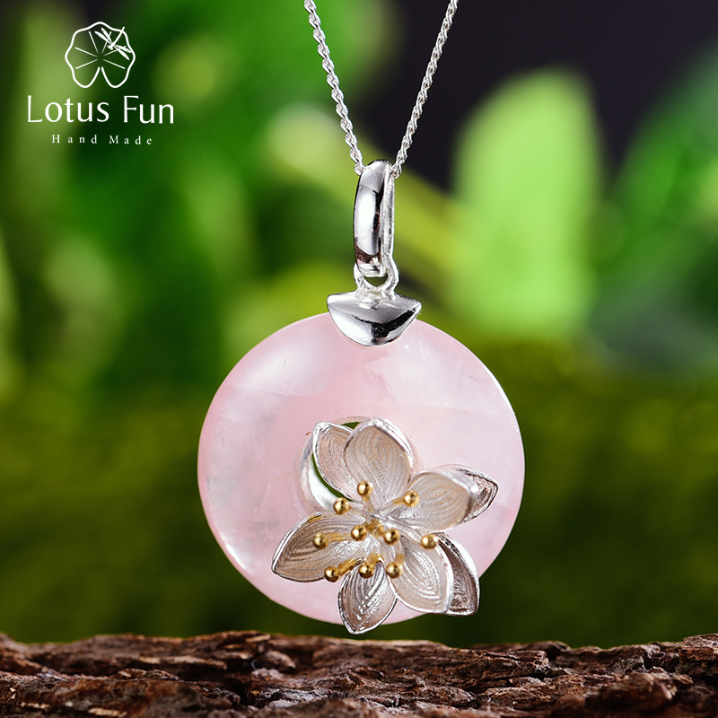 Lotus Fun Real 925 Sterling Silver Natural Pink Stone Handmade Design Fine Jewelry Lotus Whispers Pendant Without Necklace
