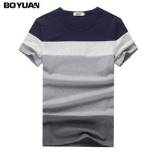 BOYUAN Brand Clothing T-Shirt Men Striped Contrast Color Casual Slim Fit Tee Shirt Homme O-Neck 2017 Summer New Fashion BY2361