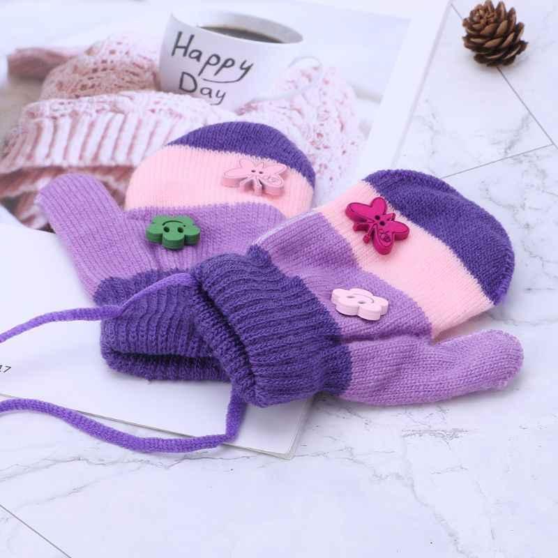 1 זוג ילדי כפפות קריקטורה כפפות חורף חם עבה רך סתיו הגנת ידי בני בנות חמוד סרוג אלסטי