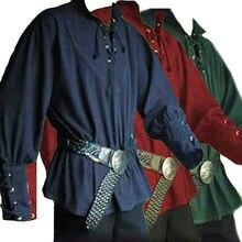 Новинка, для взрослых мужчин, Средневековый Ренессанс, Женихи, пират, воссоздание, для мужчин, футболка, шнуровка, рубашка, средний возраст, повязка, рукава, топ для мужчин