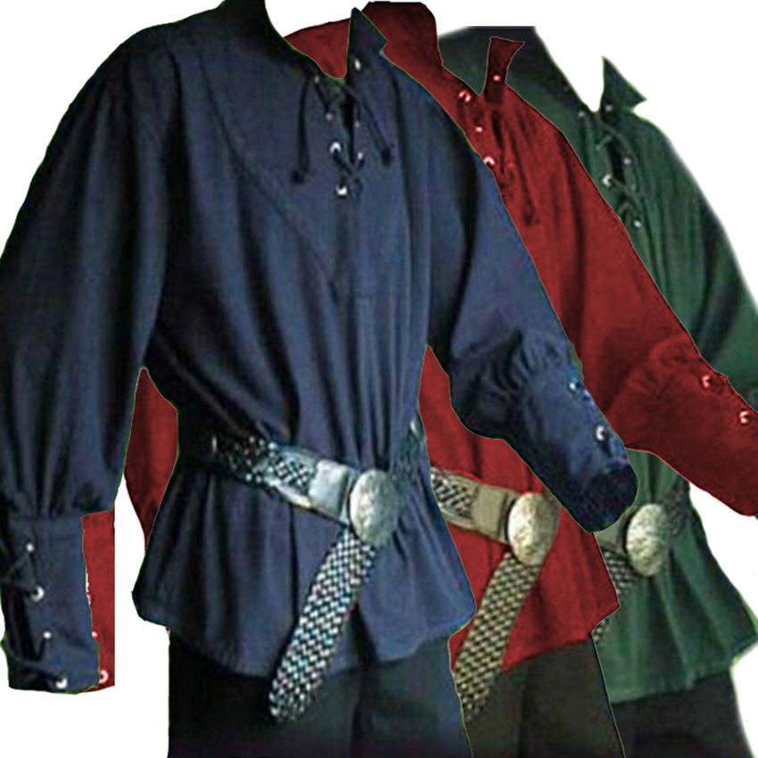 New Adult Men Medieval Renaissance Grooms Pirate Reenactment Larp Costume Lacing Up Shirt Middle Age Bandage Sleeves Top For Men