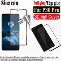 Sinzean 50pcs 3D Curved Full Covered Tempered Glass screen protector For Huawei P30 Pro (edge glue & full glue available)
