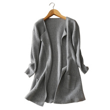 Women s long thick 100 pure cashmere knitting cardigan coat V neck open stitch winter spring
