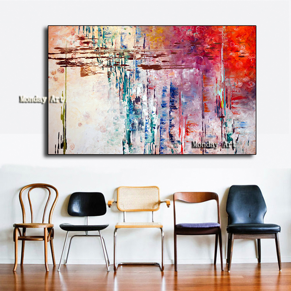 Professional Artist High Quality Handpainted colorful abstract knife Oil Paintings on Canvas Abstract Picture wall Art Paintings in Painting Calligraphy from Home Garden