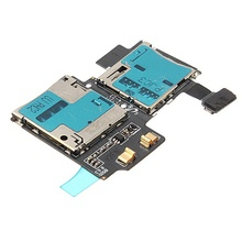 100% Guarantee Original For Samsung Galaxy S4 i9500 I9505 Sim Card Reader Holder Socket with Memory Socket Flex Free shipping