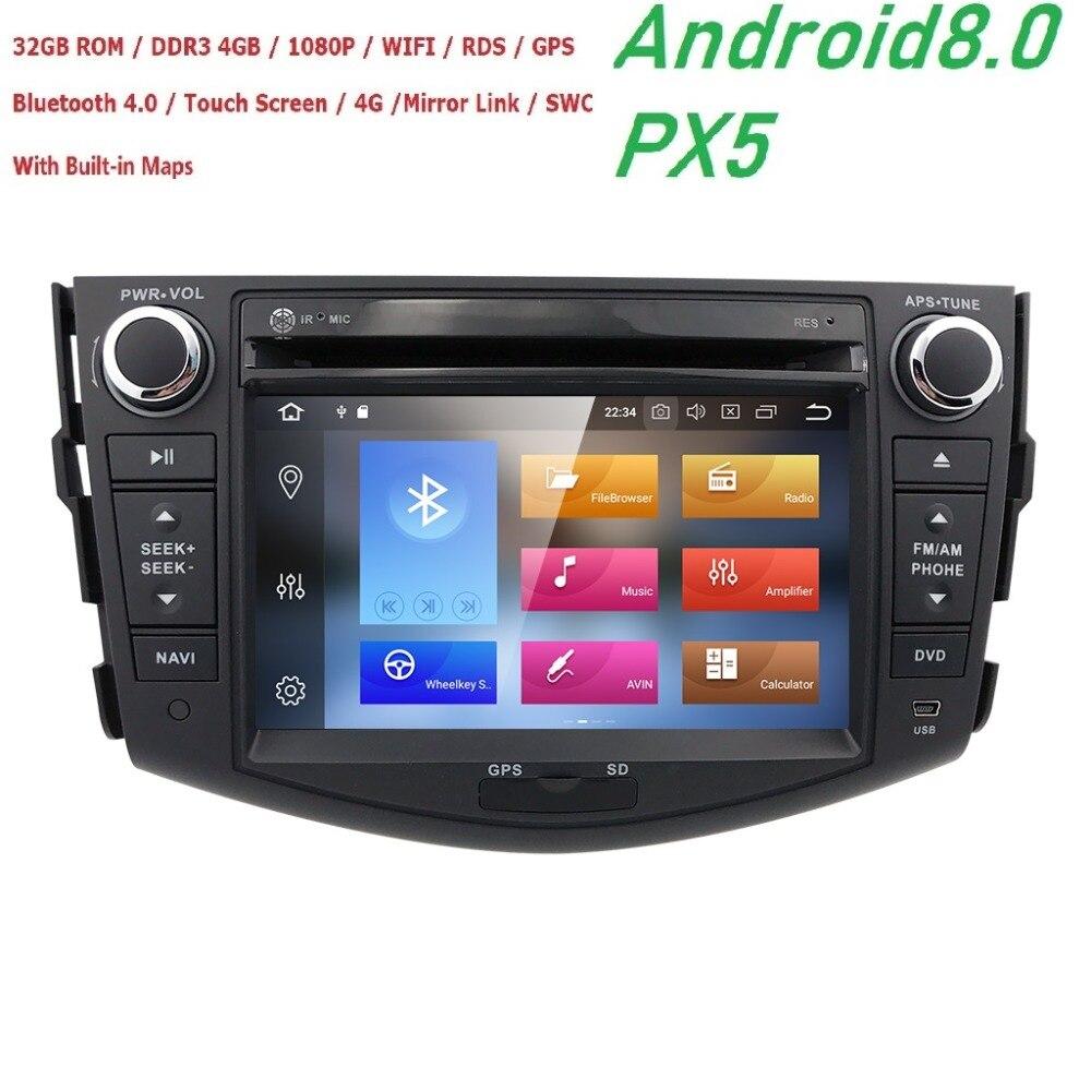 Hizpo NOUVEAU!!! PX5 Android 8.0 lecteur dvd de voiture pour Toyota RAV4 Rav 4 2007 2008 2009 2010 2011 2 din 1024*600 voiture dvd gps wifi rds