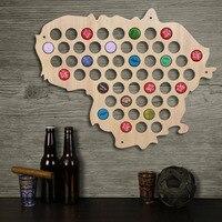 1Piece Lithuania Beer Bottle Cap Map Collection Art Custom made Beer Cap Map Wooden Craft Gift For Beer Aficionado