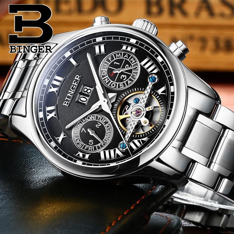 Suisse BINGER hommes montre de luxe de marque Tourbillon saphir lumineux  multiples fonctions Mécanique Montres B8602-4 07c3056d03c5